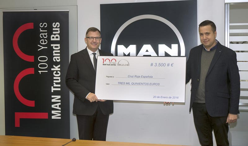 MAN Truck & Bus Iberia, gracias a todos sus clientes, dona a Cruz Roja 3.500 euros, equivalentes a su cuota de mercado